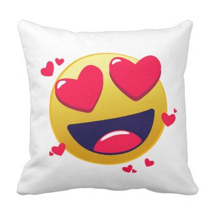 Red Love Heart Emoji Happy Smile Cute Romantic Throw Pillow - romantic gifts ideas love beautiful