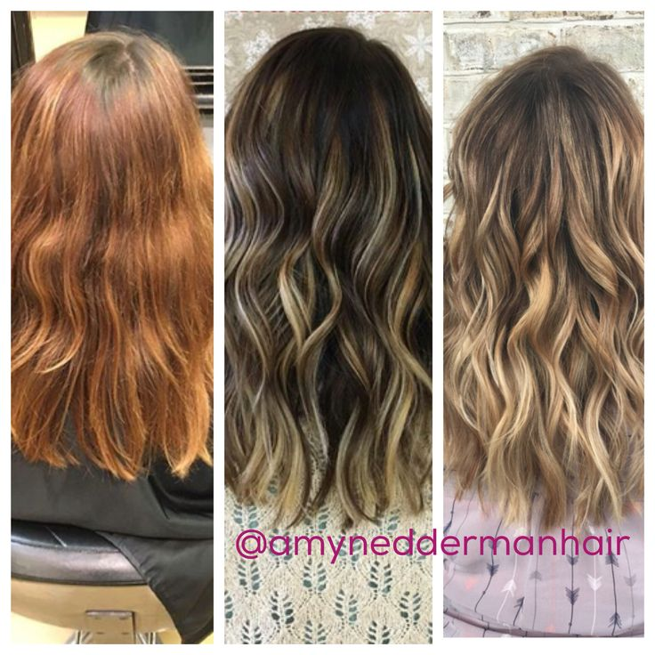 Transition From Red To Blonde Balayage By