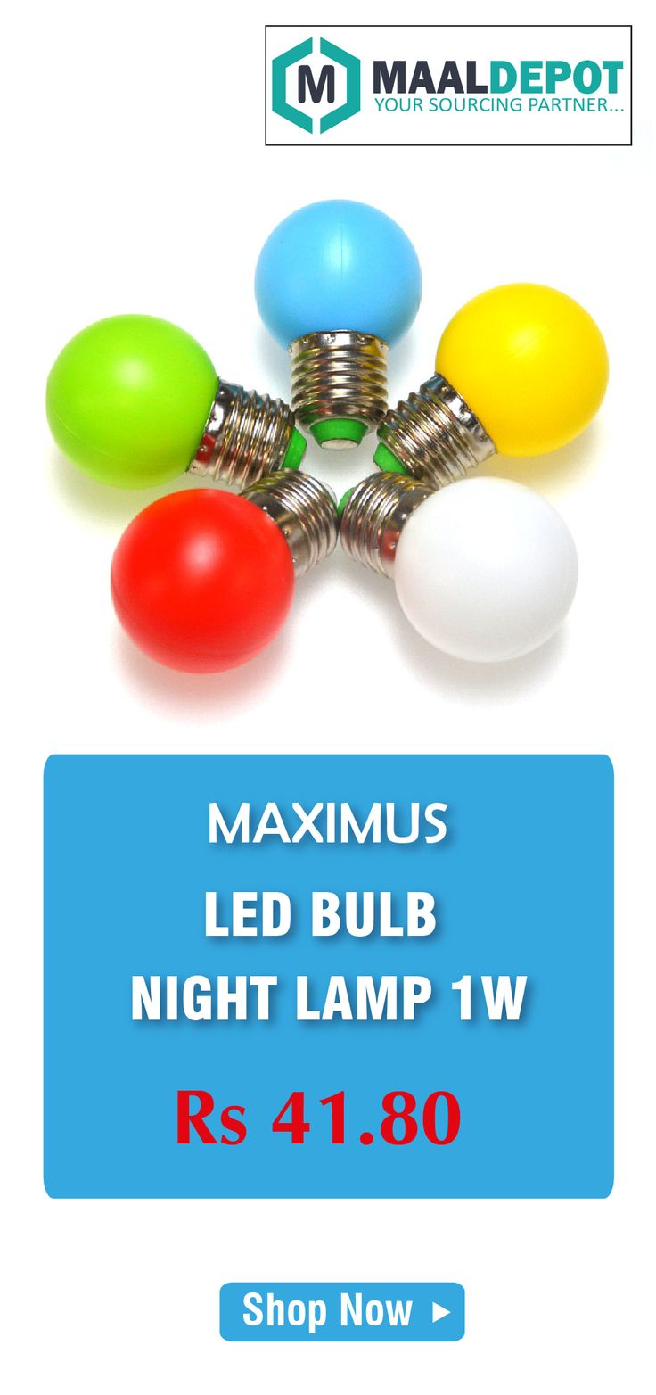 MAXIMUS LED BULB available in 5 colors. Global Lighting Saving Potential is more than 50%. Shop at http://bit.ly/2aOceJ6 for affordable prices. To place orders,call or whatsapp to 9019156789
