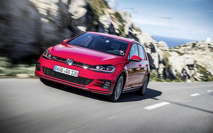 Télécharger fonds d'écran 4k, la Volkswagen Golf GTI, 2018 les voitures, la route, le rouge de Golf, Volkswagen