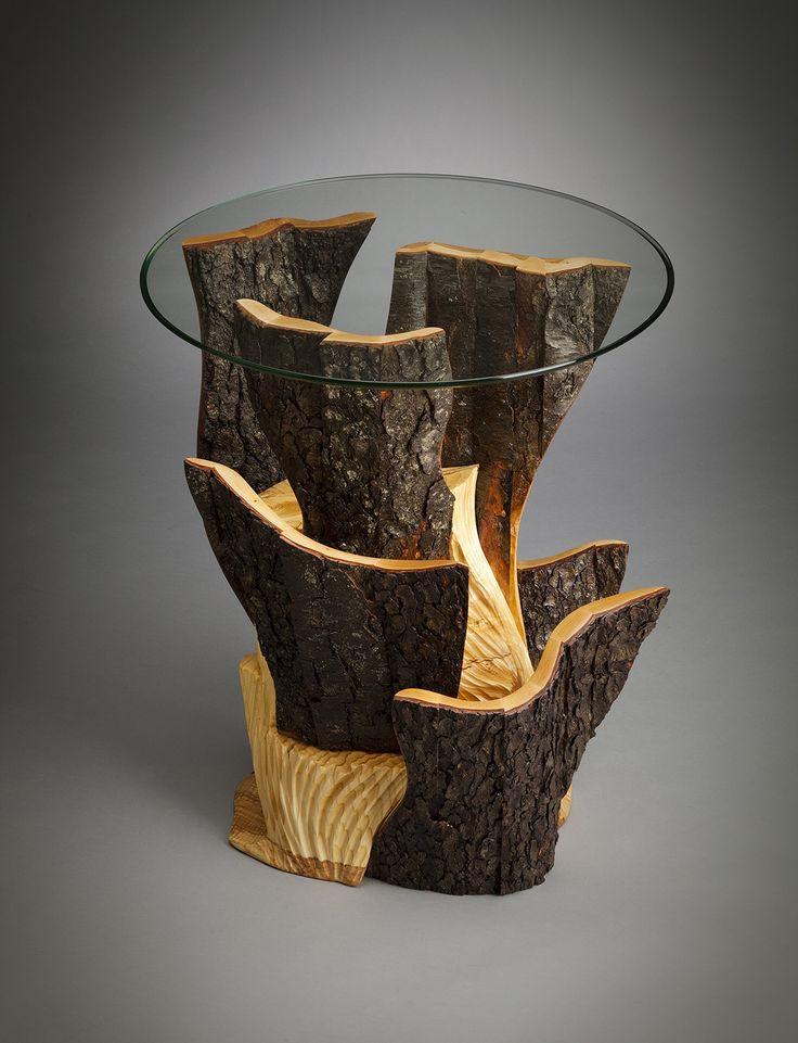 Bring nature indoors with a side table that displays striking contrast through tone and texture to your home. Formations End Table by Aaron Laux. Wood Side Table available at www.artfulhome.com