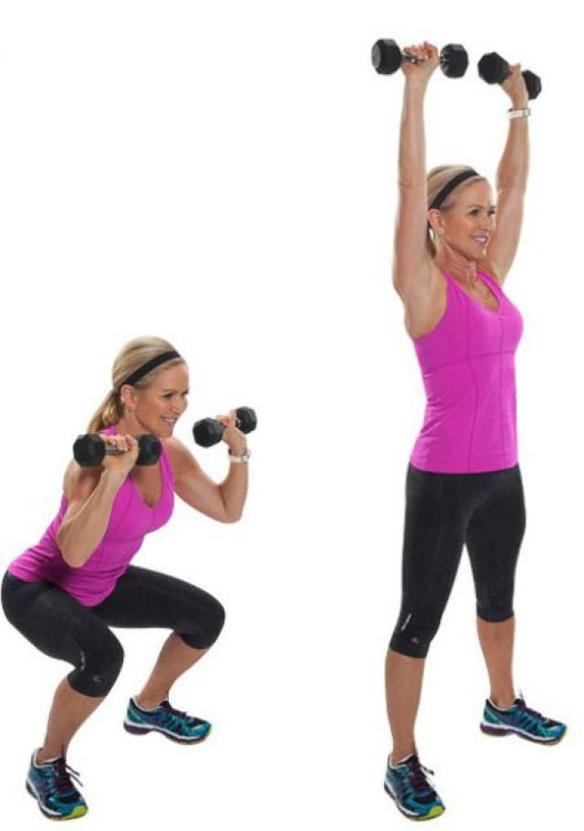 Squat Thrusters - This dumbbell workout is not your average strength training session. Get ready for a sweaty fat-burning session, with a little cardio to boot! - Get Healthy U - Chris Freytag
