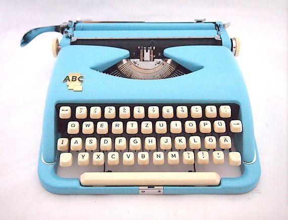 CHRISTMAS SALE ABC typewriter working typewriter blue