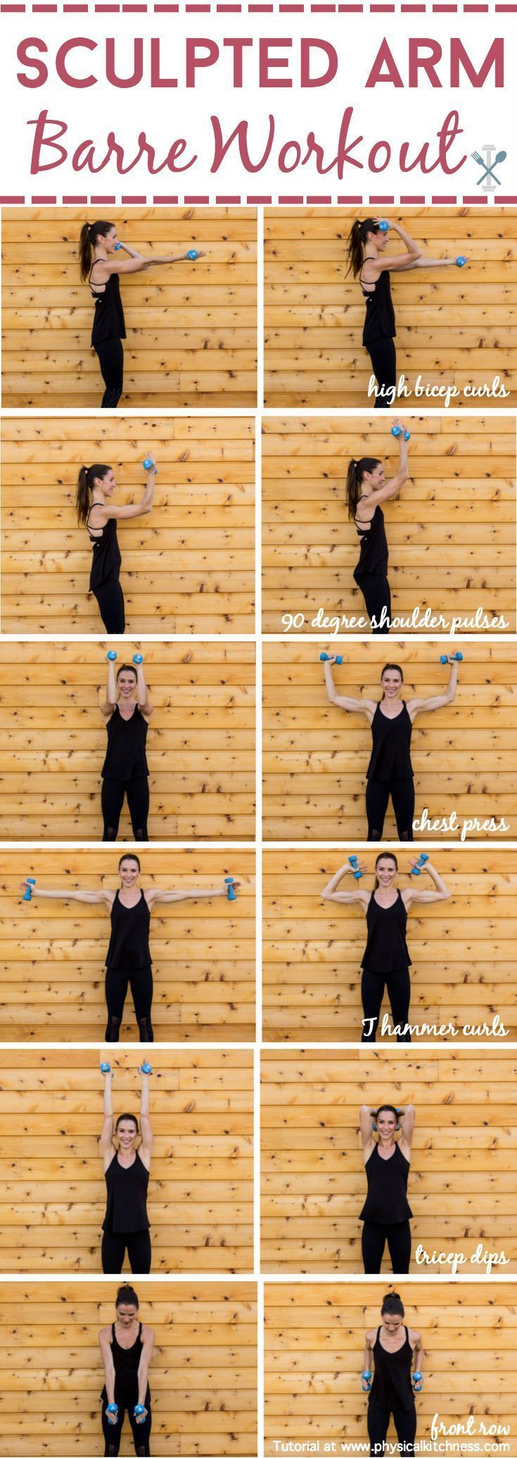 Sculpt and tone your arms in ways you never imagined with this barre inspired arm workout. Little movements with lots of repetition will work arm muscles in miraculous ways! Shaping your biceps, shoulders, and triceps. Home or gym workout!