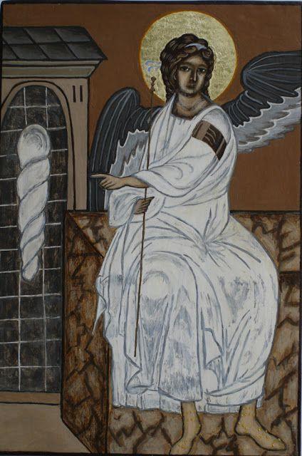 White Angel - egg tempera on board