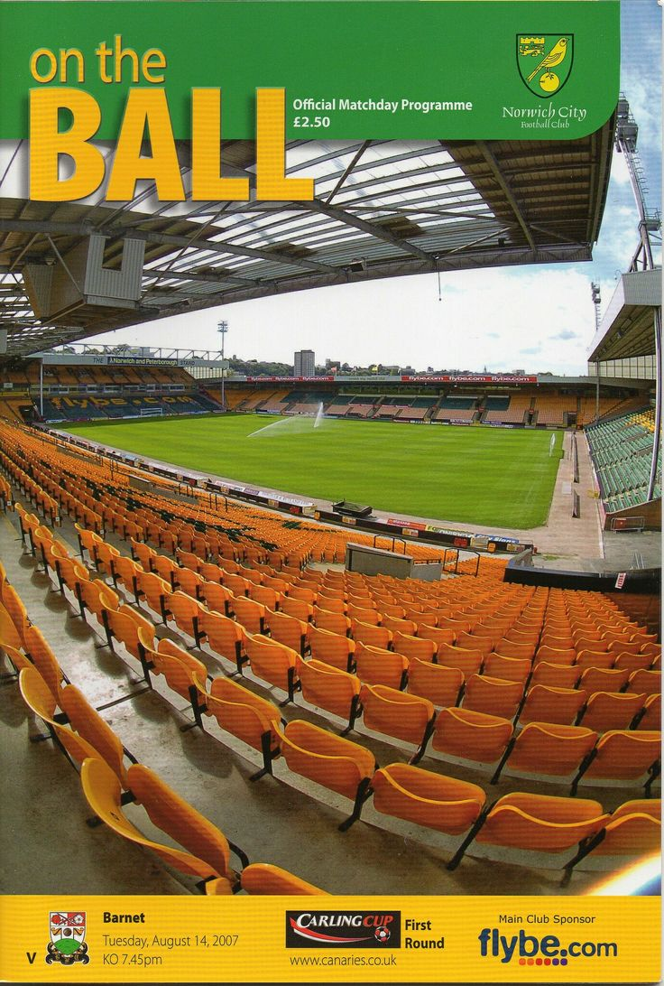 Norwich City 5 Barnet 2 in Aug 2007 at Carrow Road. The programme cover for the League Cup 1st Round tie.