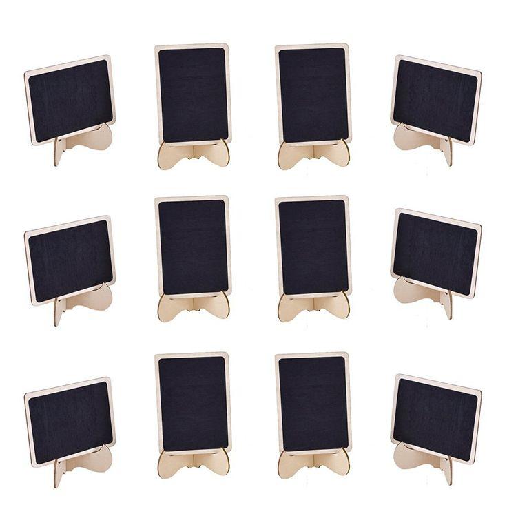 eBoot 12 Pack Mini Rectangle Tableaux Noirs Ardoises en Bois avec Easel pour Babillard Signes, Mariages et Fêtes: Amazon.fr: Fournitures de bureau