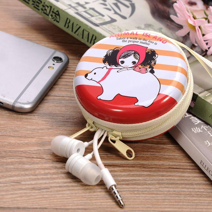 4 Color Portable Hard Headphone Case Cute Girl Cartoon Mini Earphone Carrying Pouch 1Pcs