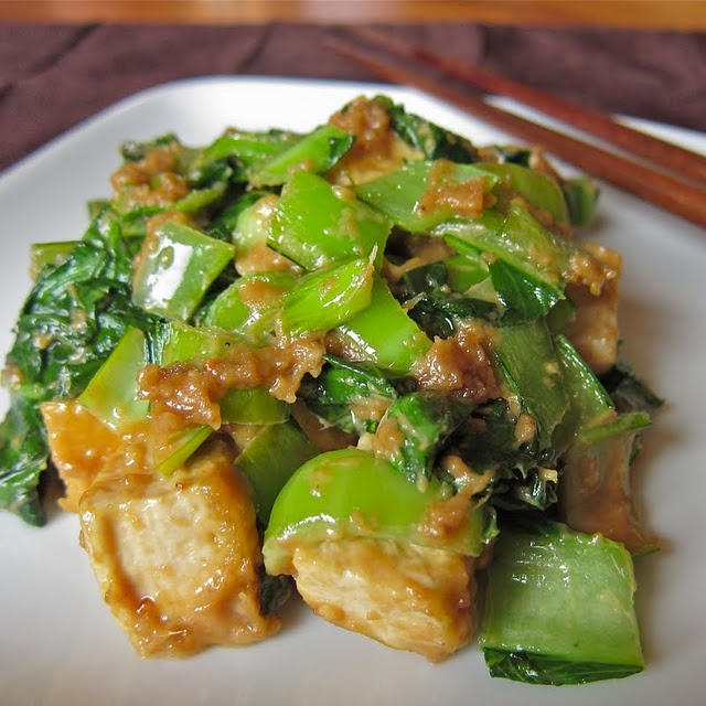 stir-fried tofu and bok choy with cashew sauce