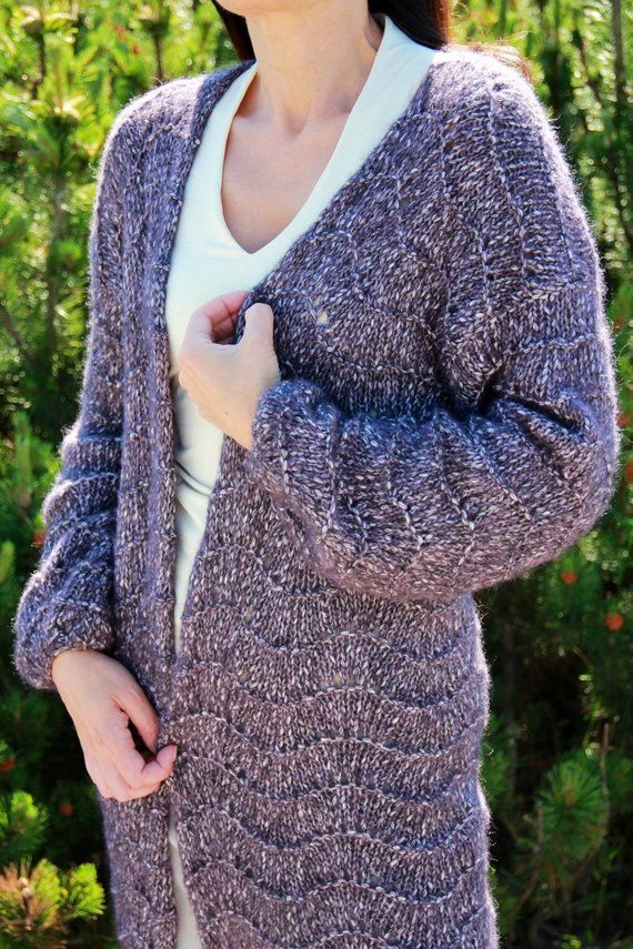 Knitted long sleeveless women/'s cardigan vest in gray alpaca wool ready to ship