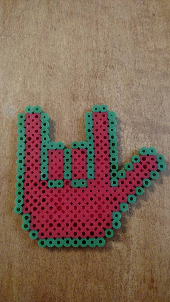 Green and Red I love you ASL Hand Sign Perler Beads Magnet
