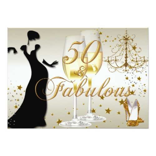 50 And Fabulous Text: Gold Sparkle 50 & Fabulous Birthday Invitation