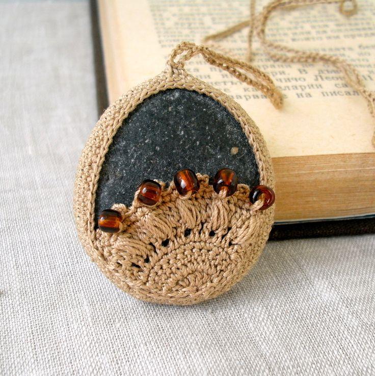 Etsy Transaction - Crochet Lace Stone Necklace - Crochet Jewelry - Large Oversized Lace Stone Necklace - Beach Stone Lacy Pendant - Beach Wedding Necklace