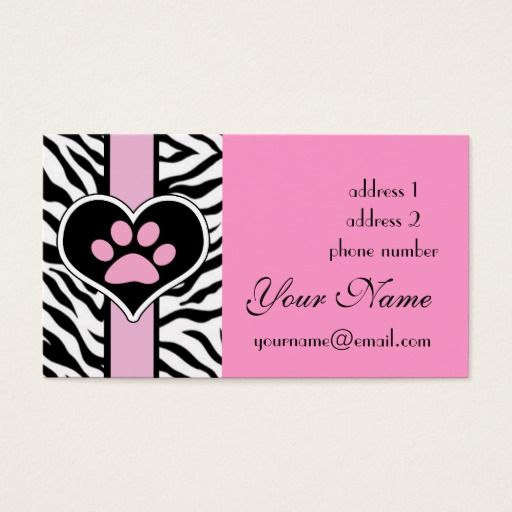 41 best pet business cards images on pinterest business cards shop cool elegant zebra paw print business card created by lucykitty personalize it with photos text or purchase as is colourmoves
