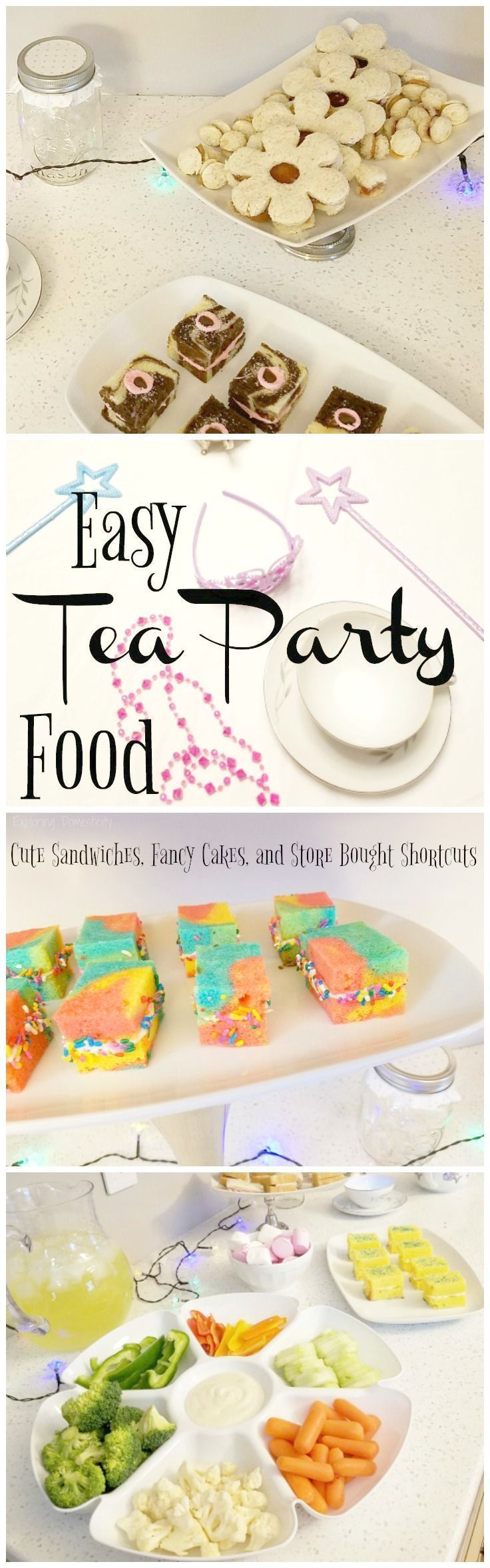Easy Tea Party Food - Cute Sandwiches, Fancy Cakes, & Store Bought Shortcuts  #kids #teaparty #birthday #fairy #party #birthdayparty