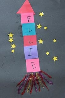 Preschool Crafts for Kids*: Name Rocket Space Craft