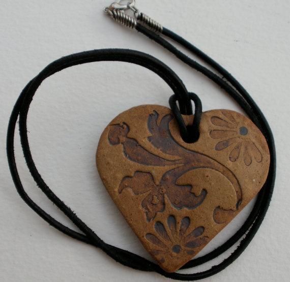 ~Antique look clay heart pendant`