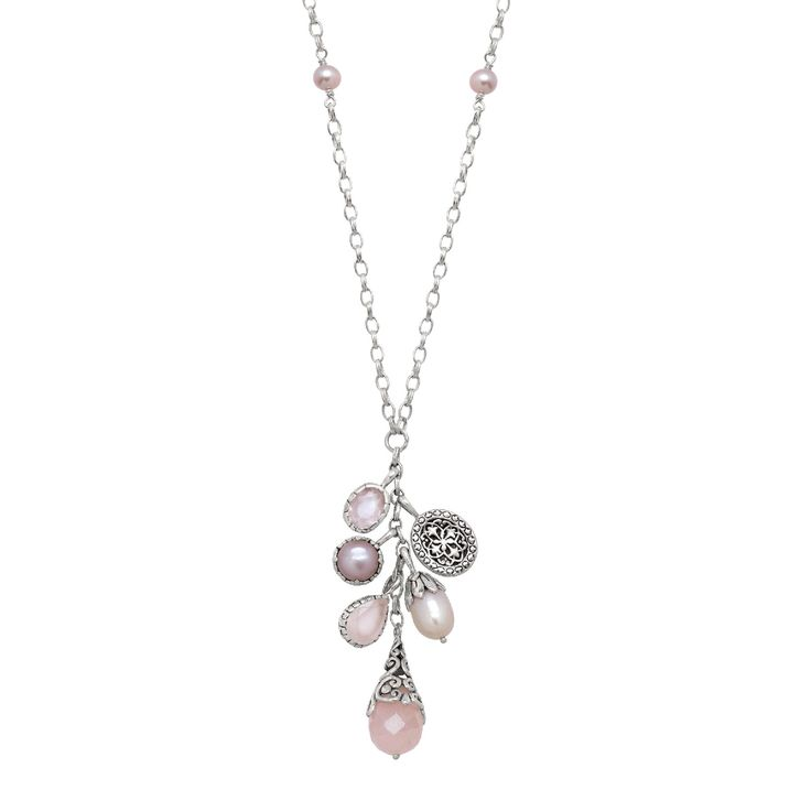 Merah Muda Necklace - Merah Muda Necklace: Named after the Indonesian word for pink, this necklace features Rose quartz and pink freshwater pearls to accent your polished style! This long, pearl-studded chain is capped off with a cluster of rose quartz, pink pearl, and sterling silver filigree charms.  This piece is part of our Balinese Collection, inspired by the beauty of Southeast Asia and handcrafted in Bali using ancient silversmith techniques.