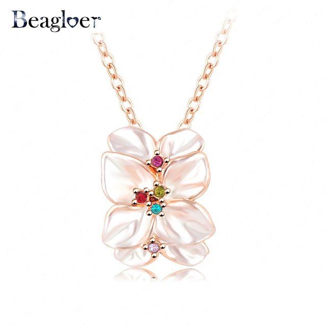 Beagloer Мода Розовое Золото Цвет женщин Эмаль Цветок Воротник ожерелье Рождественские Подарки Для Женщин NL0001-A