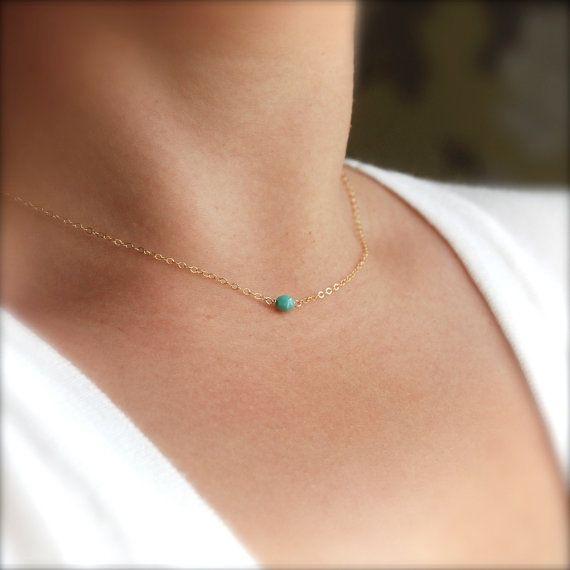 Kahoni necklace  tiny turquoise bead necklace