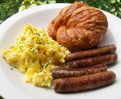 Eggs, croissant and sausage breakfast | My Kind of Breakfast... | Pin ...