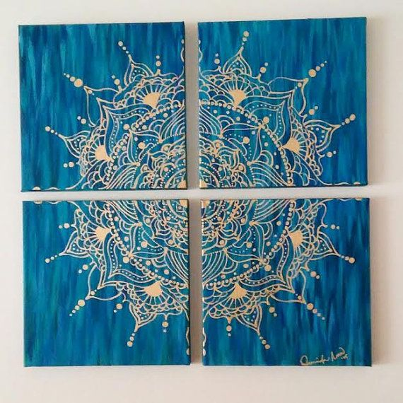 Mandala is hand painted on four 10x10 pieces of canvas, total size of piece is 20x20. Acrylic paints in shades of greens, blues and turquoise