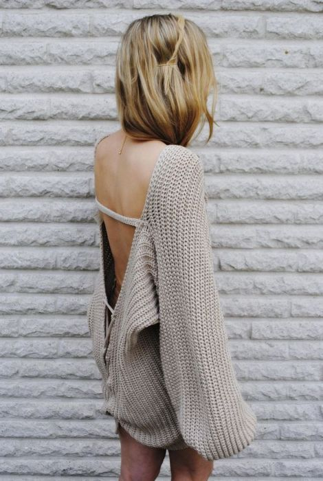 Chunky knitBackless Sweaters, Fashion, Style, Clothing, Sweaters Dresses, Over Sweaters, Open Backs, Big Sweater, Knits Sweaters