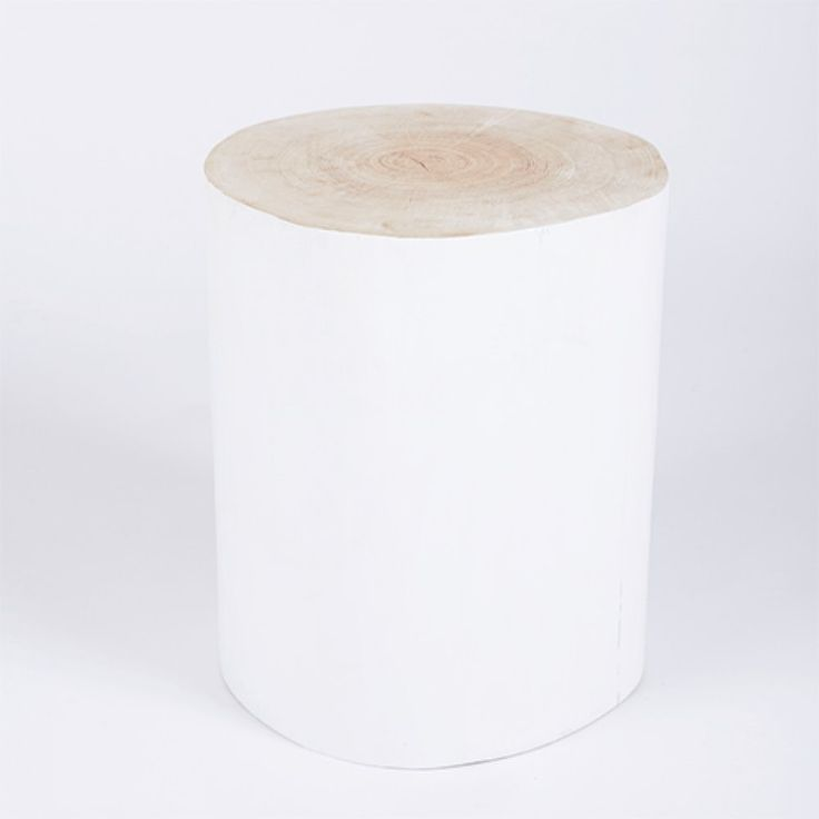 Urban Couture | Solid Timber Log Stool-White | Urban Couture - Designer Homewares & Furniture Online