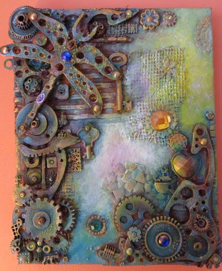 """Mixed-media on canvas 12"""" x 10"""", created with acrylic inks/paint, hand cut and handmade embellishments and recycled items"""