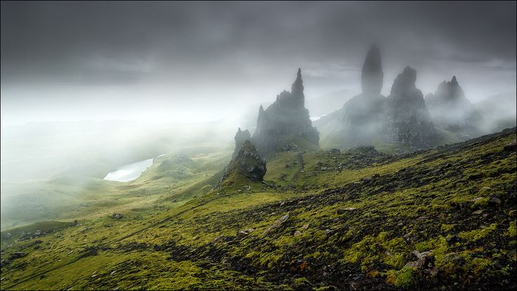 [...in the mist they were standing] The old Man of Storr, Scotland, Isle of Skye, Trotternish Peninsula by D-P Photography