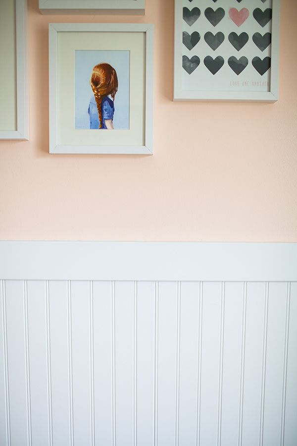 Beadboard is a good choice for wainscoting in a baby's room. The vintage look is very charming. See how Alix Adams of A Ruffled Life added this beadboard to her adorable little girl's room. It's on The Home Depot Blog. || @ARuffledLife