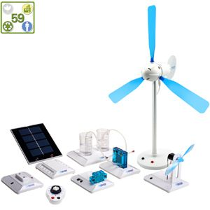 The Renewable Energy Science Kit demonstrates the workings of a clean energy technology system on a miniature scale. Power an electrical circuit by solar panel or a wind turbine with profiled blades based on NASA aeronautics. Generate hydrogen through water electrolysis and convert it into electricity using a PEM fuel cell. Whichever combination of technologies you want to explore, this science kit is a comprehensive introduction to the principles behind renewable microgrids.