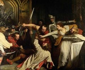 The Murder of Rizzio, painting by John Opie, 1787. Lord Darnley may have conspired in the murder of Mary's secretary and alleged lover, David Rizzio. It was thought that the conspirators hoped the shock would kill both Mary and the heir she was carrying.Lord Darnley, Fascinators Historical, Tudor History, David Rizzio, Bloody Murder, Mary Stuart, John Opi, Mary Queens, Historical Site