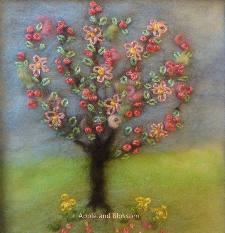 Hand Embroidered Spring Blossom Tree made by Mary Spence at Apple and Blossom