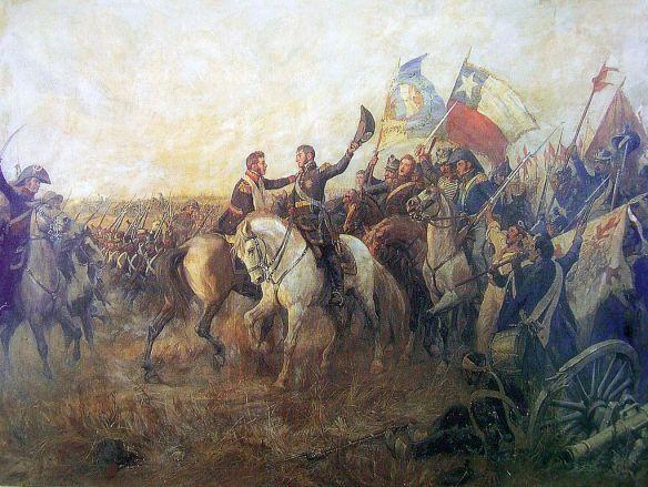 "The ""Embrace of Maipú"" between José de San Martín and Bernardo O'Higgins, after the victory in the Battle of Maipú"