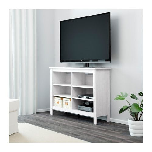 BRUSALI TV unit - white - IKEA  put mirrors in the back of shelves