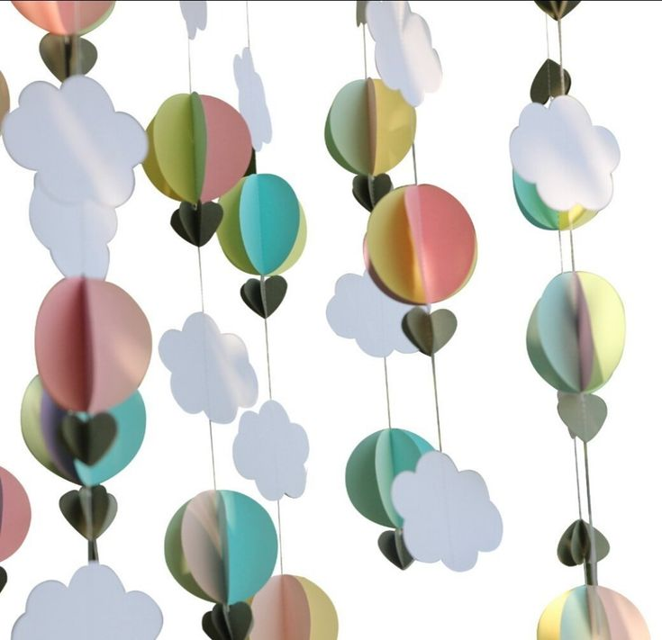 Pastel Clouds Hot Air Balloons Garland Baby Shower Photo Prop Birthday Party Decor-in Event & Party from Home & Garden on Aliexpress.com | Alibaba Group