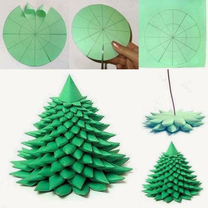 Como hacer adornos de navidad rbol de papel en forma de - Adornos navidenos de papel ...