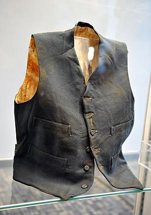 Artifacts From The Titanic-Vest recovered from the wreckage site of RMS Titanic.