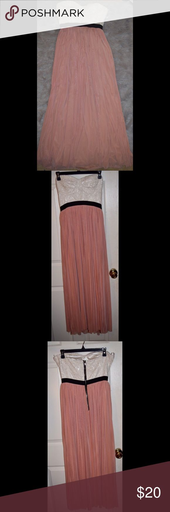 Body Central Strapless Maxi Dress. Body Central Peach/Ivory Strapless Maxi Dress. Does have a lining under the bottom half. Need more photos or more info? Feel free to ask. I'll do my best.  Body Central Dresses Maxi