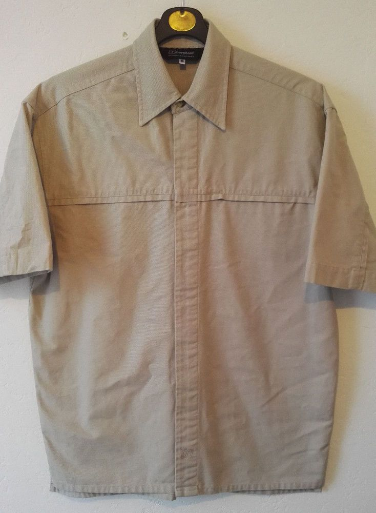Berghaus Mens Shirt Outdoor Workwear Thick Cotton Button Up Pocket Beige Size S