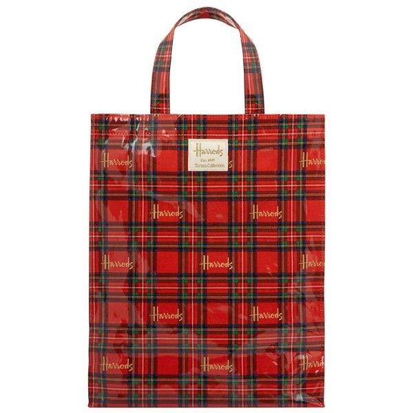 Harrods Medium Royal Stewart Tartan Shopper Bag ($25) ❤ liked on Polyvore featuring bags, handbags, tote bags, plaid purse, red plaid handbag, tartan handbags, red tote bag and shopping tote bags