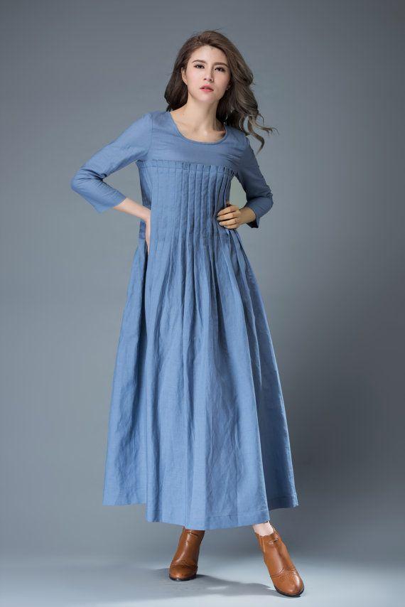 Blue Linen Dress Spring Blue Dress Maxi Dress C811 by YL1dress