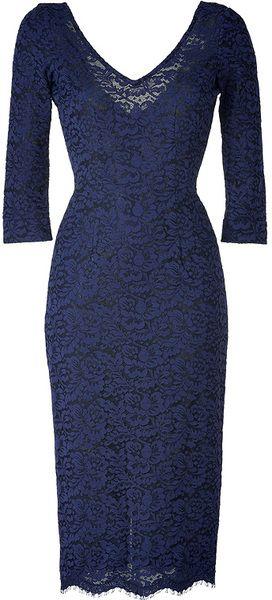 L'wren Scott Blue Lapis Lazuli Deep Vneck Lace Dress