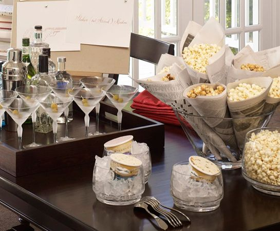 movie night martinis, popcorn, ice cream on ice: Girls Night, Popcorn Cones, Party Idea, Movie Night, Movies Party, Design Studios, Oscar Party, Pottery Barns, Movies Night Party