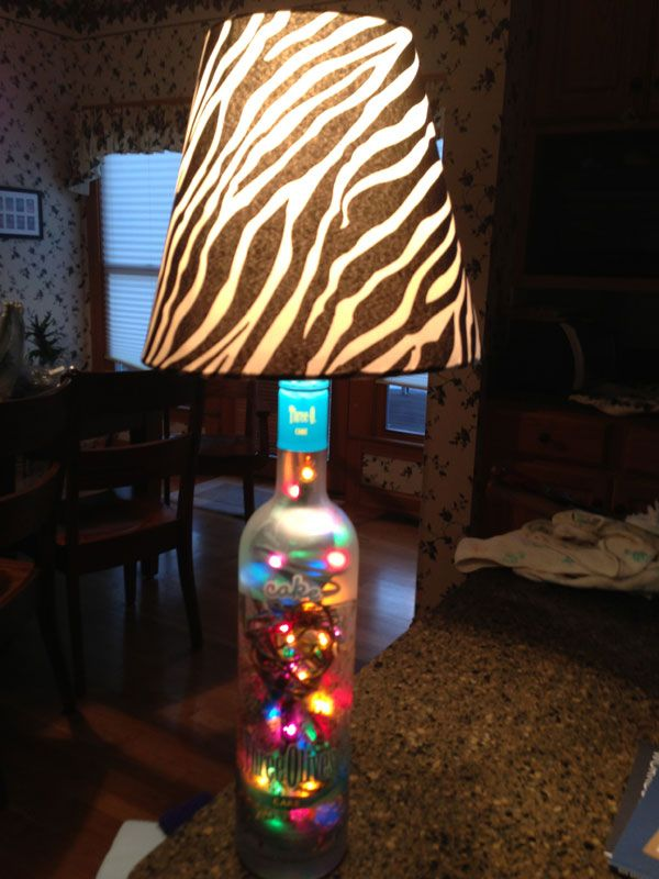 Recycled Three Olives bottle lamp with colored