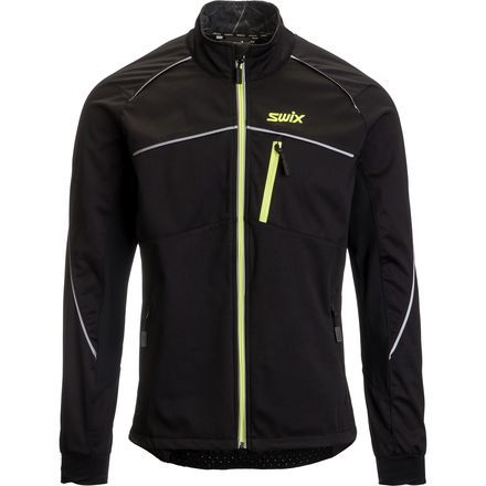 Endurance training is a lot comfier when you cross country ski in the Swix Men's Delda Light Softshell Jacket. Its breathable, quick-drying, water-repellent face fabric is complimented by the the mesh lining that wicks moisture and ventilates to keep you cool and comfortably dry from the first mile all the way to the last. There are adjustments to secure the sleeves over your gloves, and Swix added a back pocket for a water bottle because you're going to need it.