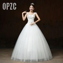 Free Shipping Wedding Dress 2016 vestido de noiva White Princess Wedding Frocks Sequins Lace up Wedding Frocks Bride Ball Gown(China (Mainland))