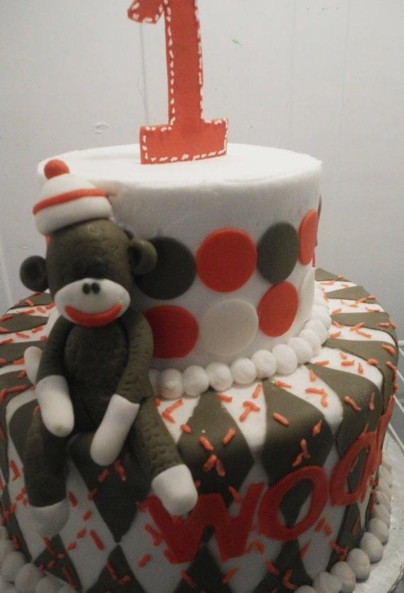 Sock monkey cake topper | Sock monkey cakes, Monkey cake ...