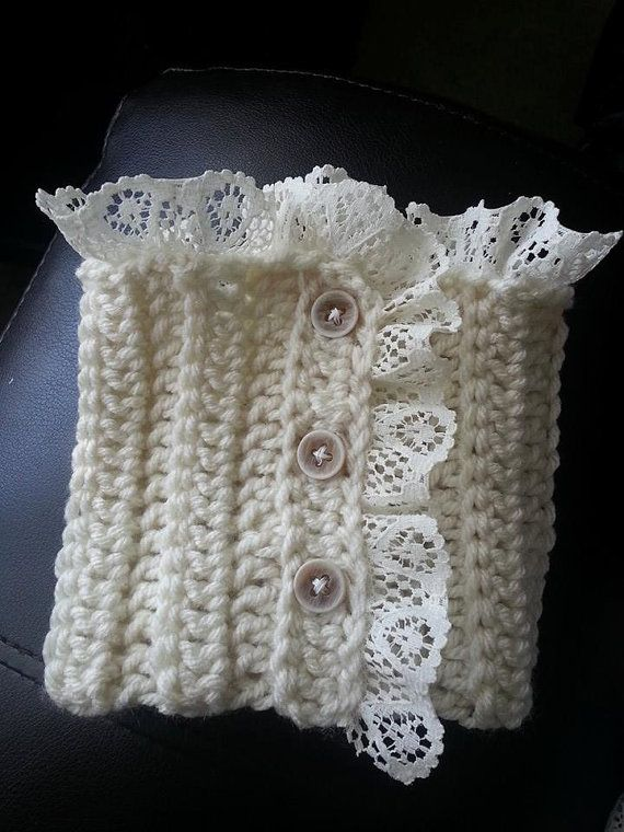 boot cuffs medium in cream. I like the lace and buttons idea, but I'd do this in knit